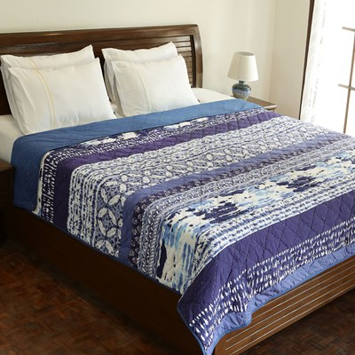 Dawn Indigo Blue Pieced Quilt - King