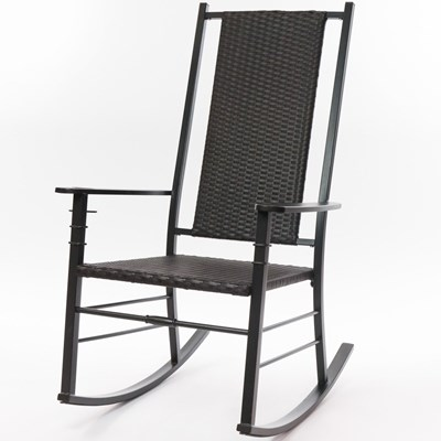 Palm Harbor Wicker Rocking Chair - Black