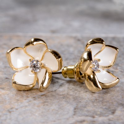 Gold Enamel Flower Earring