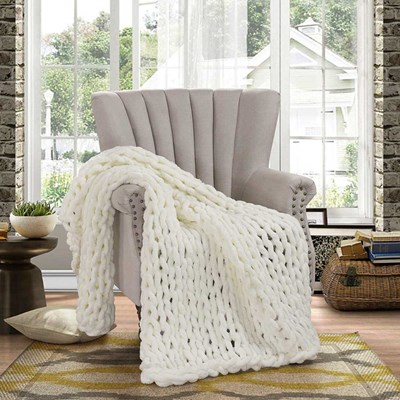Chenille Knitted Throw - Ivory