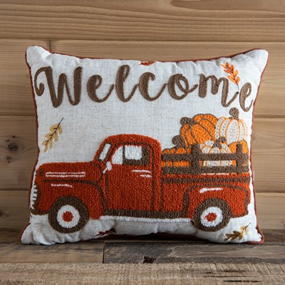 """Welcome"" Red Truck Decorative Pillow"