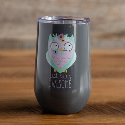 Stemless Wine Glass - Floral Owl