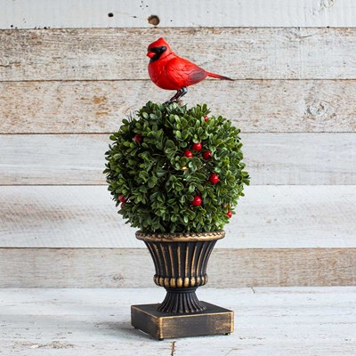 Animated Singing Cardinal on Topiary Decor
