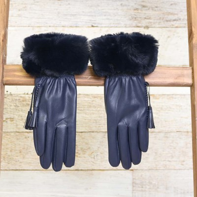 Navy Faux Leather and Fur Glove