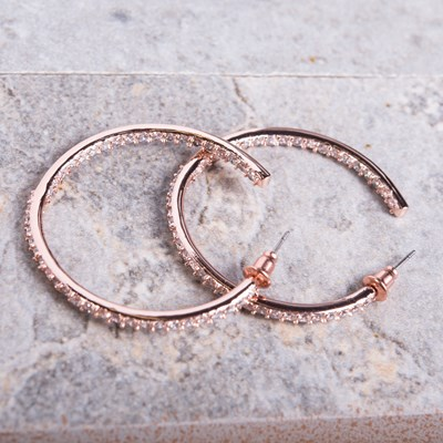 Rose Gold Cubic Zirconia Inside-Out Hoop Earring