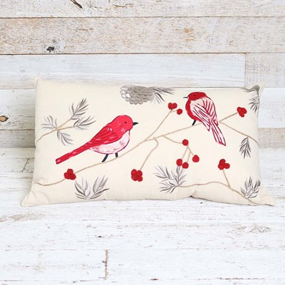 Cardinal Embroidered Decorative Lumbar Pillow