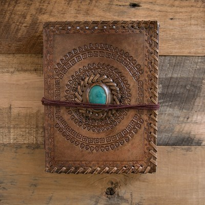 Brown Leather Journal with Turquoise Stone