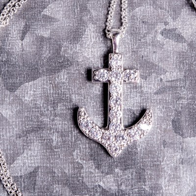 "Silver Cubic Zirconia Anchor 18"" Chain Necklace"