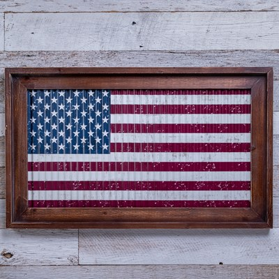 Framed Metal Flag Wall Decor