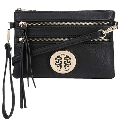 Black Convertible Medallion Crossbody