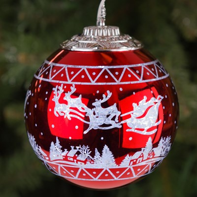 light up ball ornament santas sleigh - Cracker Barrel Store Christmas Decorations