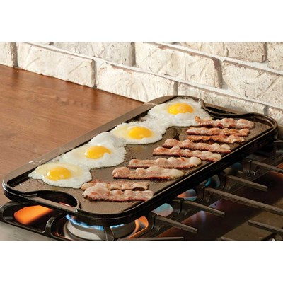 "Lodge ® 20""x10.44"" Cast Iron Grill and Griddle"