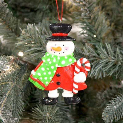 Claydough Snowman with Green Scarf Ornament