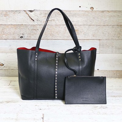 Black Leather Studded Closure Tote