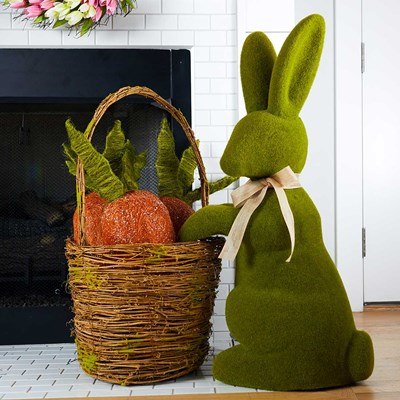 Giant Bunny With Basket Of 3 Carrots