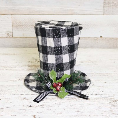 Black and White Plaid Hat Tree Topper