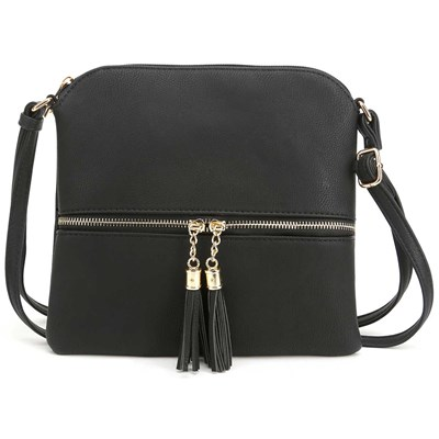 Black Tassel Flat Crossbody Purse