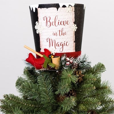 Black Top Hat Christmas Tree Topper