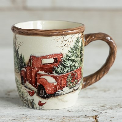 Stoneware Snowy Mug - Red Pick-Up Truck