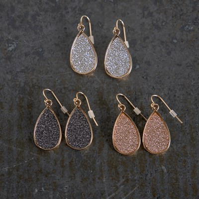 3-Pack Glitter Paper Teardrop Earrings
