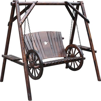 Char-Log Wooden 4' Wagon Wheel Swing with Stand