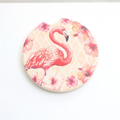 Flamingo W/Flowers Car Coaster