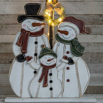 LED Light-up Chunky Wood Snowman Family