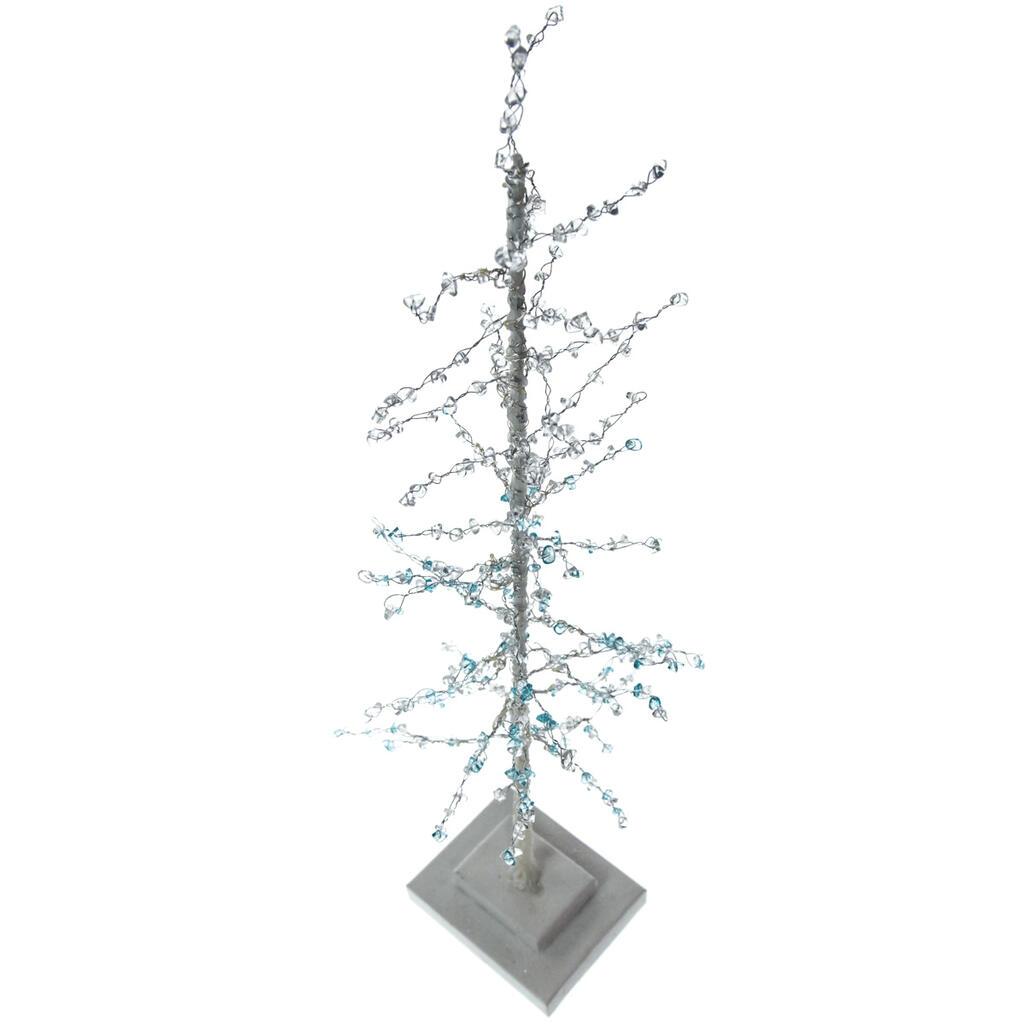 light up blue beaded tree smalllight up blue beaded tree small