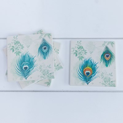 Peacock Coaster Set - 4-Pack