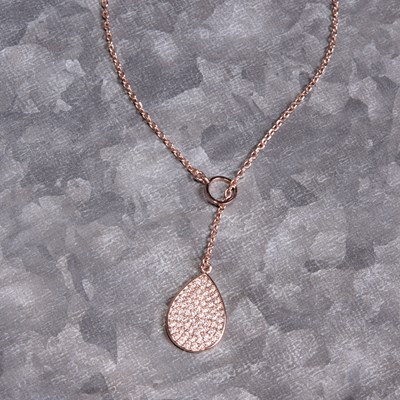 "Rose Gold Pave Teardrop 24"" Lariat Necklace"