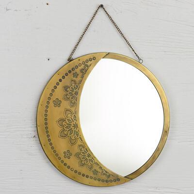 Crescent moon hanging mirror