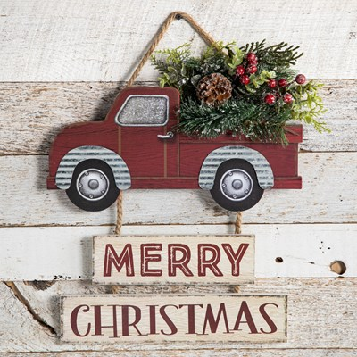 """Merry Christmas"" Red Truck Hanging Sign"