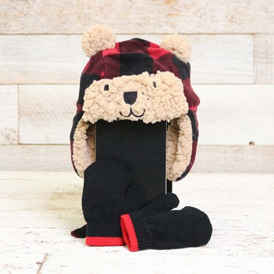 Infant Bear Trapper Hat and Mitten Set