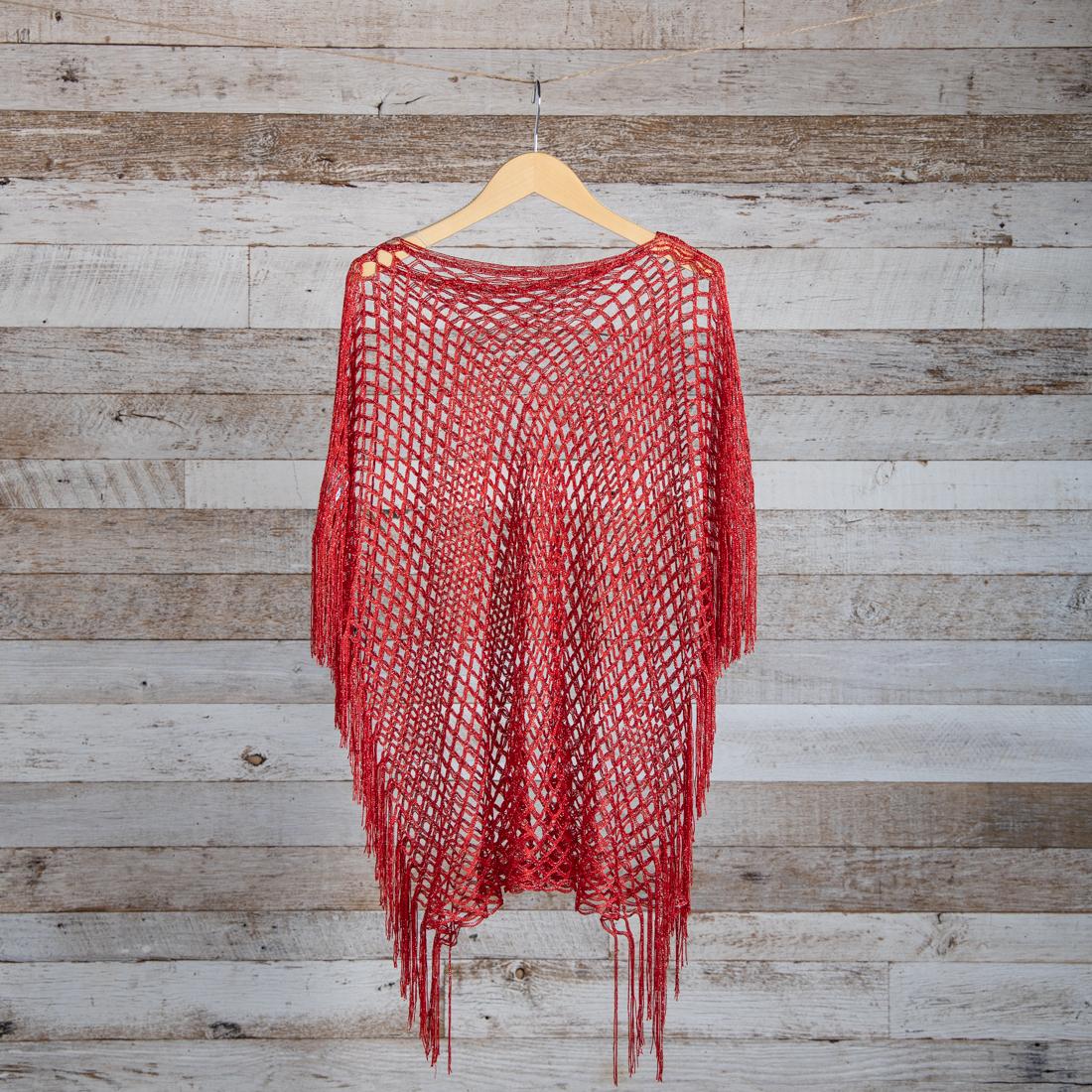 015dddb6b Red Lurex Fishnet Shawl