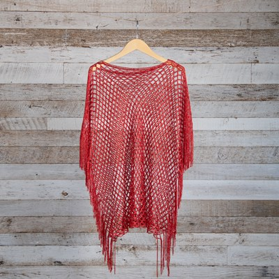Red Lurex Fishnet Shawl