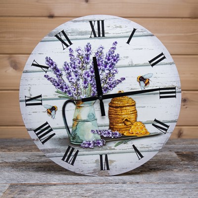 Wood Wall Clock with Lavender Design