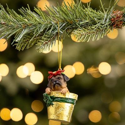 Dog in Poinsettia Pot Ornament