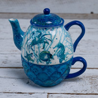 Stoneware Coastal Tea-for-One