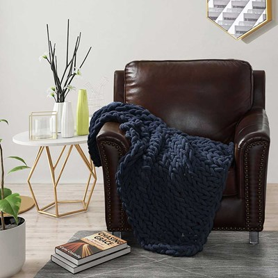 Chenille Knitted Throw - Navy
