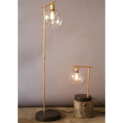 Metal and Wood Floor Lamp with Glass Shade