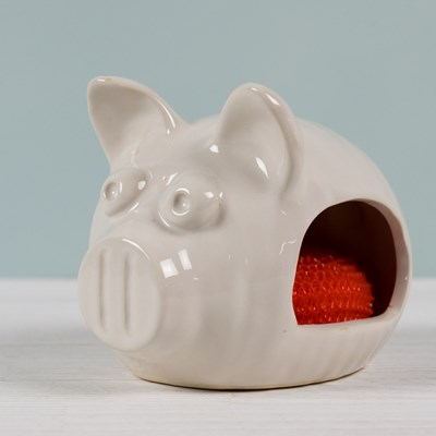 Oh Gussie! Stoneware Pig Scrubby Holder with Scrubby