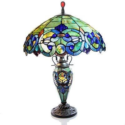 Tiffany Style Stained Glass Double-Lit Table Lamp - Blue