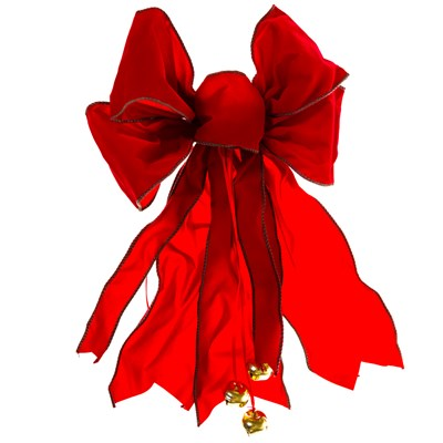 Red Bow with Green Stitching and Jingle Bells