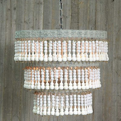 Round Metal and Wood Beaded Chandelier