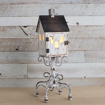 Wooden Birdhouse Table Lamp
