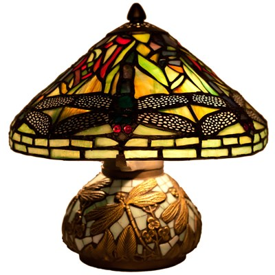 Stained Glass Dragonfly Mini Table Lamp