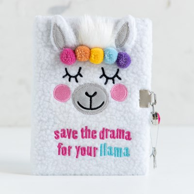 Plush Llama Locking Diary