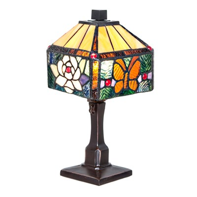 Stained Glass Rose and Butterfly Accent Lamp