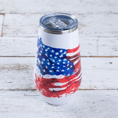 American Flag Stemless 16 Oz. Wine Glass