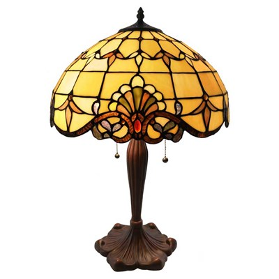 Tiffany Style Stained Glass Table Lamp - Amber